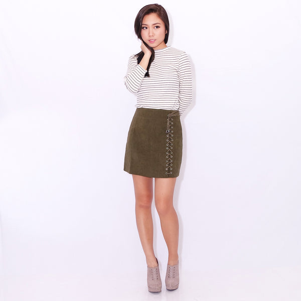 afcb379d0a RUMI LACE-UP SKIRT IN olive green