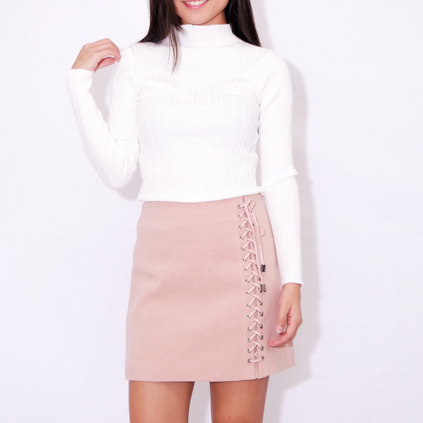 f39ec22247 RUMI LACE-UP SKIRT IN nudish pink – POSACollective