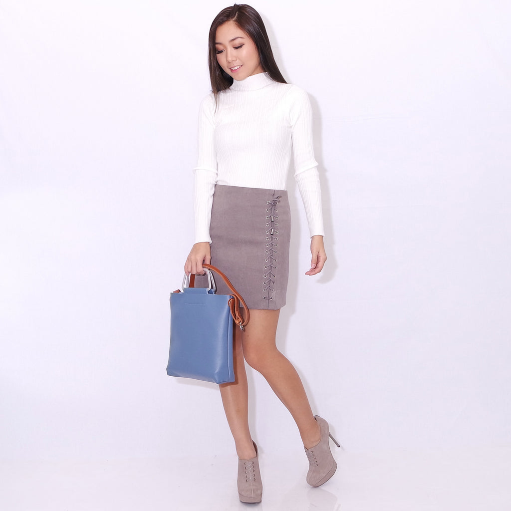 990f4b512e RUMI LACE-UP SKIRT IN classic grey – POSACollective