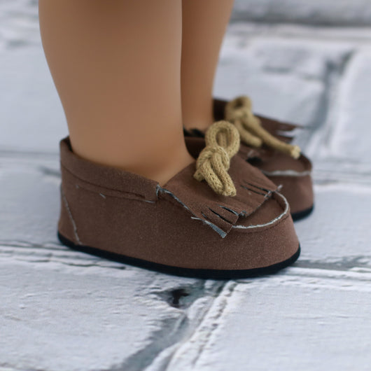 18 Inch Doll Shoes | Brown Moccasin Shoes