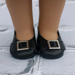 18 Inch Doll Shoes | Black Buckle Shoe