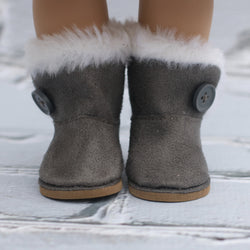 18 Inch Doll Shoes | Gray Button Boots