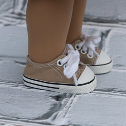 18 Inch Doll Shoes | Tan Sneakers