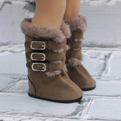 18 Inch Doll Shoes | Tan Fur Buckle Boots