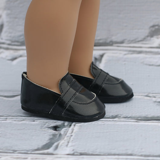 18 Inch Doll Shoes | Black Loafers