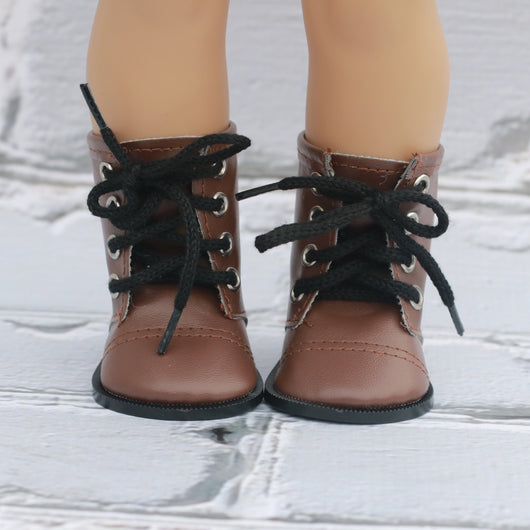 18 Inch Doll Shoes | Brown Lace Up Boot
