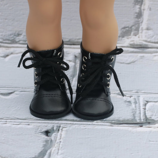 18 Inch Doll Shoes | Black Lace Up Boot