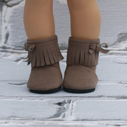 18 Inch Doll Shoes | Brown Fringe Bootie