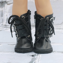 18 Inch Doll Shoes | Black Buckle and Lace Boots