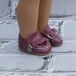 18 Inch Doll Shoes | Magenta Driving Mocs