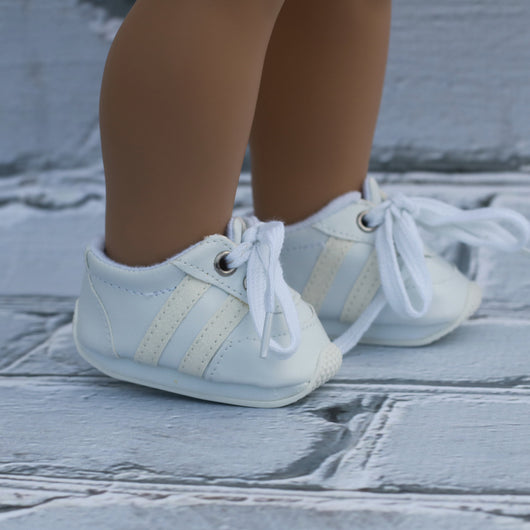 18 Inch Doll Shoes | White with White Glitter Stripes Running Sneakers