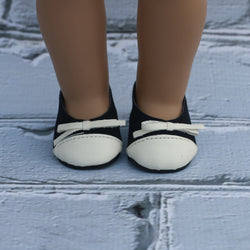 18 Inch Doll Shoes | Black and Cream Ballet Bow Flats