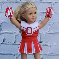 18 Inch Doll Clothes | Red and White Cheerleader Outfit (Ohio State University inspired)
