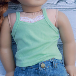 18 Inch Doll Clothes | Mint Green Lace Cami