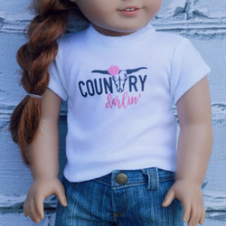 18 Inch Doll Clothes | Country Darlin' Bull Cow Skull Graphic T-Shirt