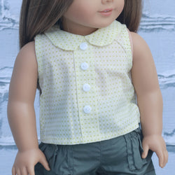 18 Inch Doll Clothes | Yellow Dot Sleeveless Button Up Top with Collar