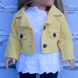 18 Inch Doll Clothes | Yellow Corduroy Cropped Jacket