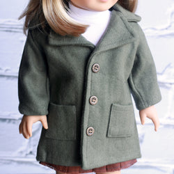 18 Inch Doll Clothes | Olive Green Long Wool Coat
