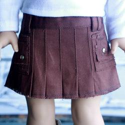 18 Inch Doll Clothes | Brown Pleated Pocket Skirt