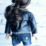 18 Inch Doll Clothes | Faux Black Leather Jacket