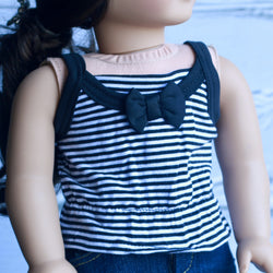 18 Inch Doll Clothes | Black and White Stripe Bow Cami
