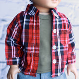 18 Inch Doll Clothes | Red and Black Plaid Check Button Down Shirt