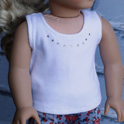 18 Inch Doll Clothes | White Ribbed Tank Top