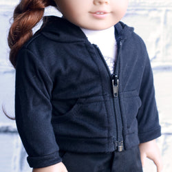 18 Inch Doll Clothes | Black Zip Up Hoodie