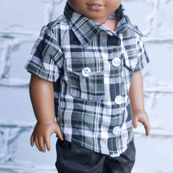 18 Inch Doll Clothes | Black and Gray Plaid Button Down Cargo Shirt