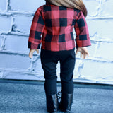 18 Inch Doll Clothes | Red and Black Buffalo Plaid Check Button Down Flannel Shirt