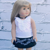 18 Inch Doll Clothes | Black and White Ruffles Skirt