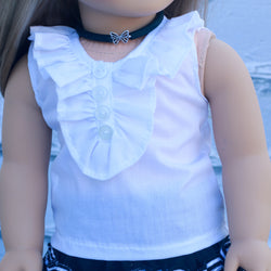 18 Inch Doll Clothes | White Sleeveless Ruffle Top