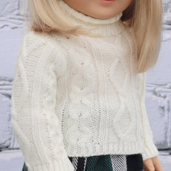 18 Inch Doll Clothes | Cream Cable Knit Pullover Sweater