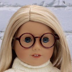18 Inch Doll Accessories | Tortoise Shell Brown Round Frame Glasses for dolls such as American Girl