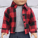 18 Inch Doll Clothes | Red and Black Buffalo Plaid Check Button Down Flannel Shirt (no velcro)