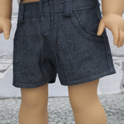 18 Inch Doll Clothes | Blue Denim Trouser Shorts