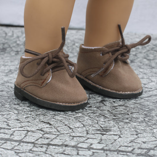 18 Inch Doll Shoes | Brown Suede Tie Up Boots