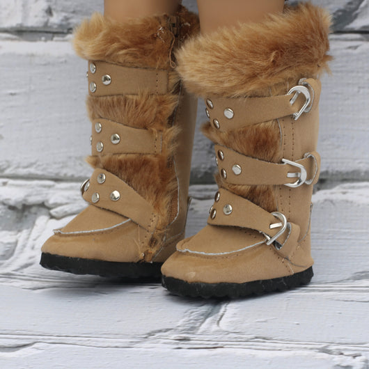 18 Inch Doll Shoes |Tall Camel Tan Fur Boots with Buckles