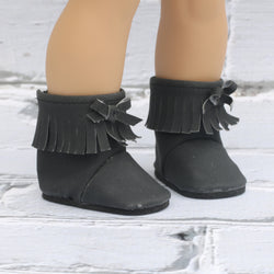18 Inch Doll Shoes | Black Suede Fringe Bootie