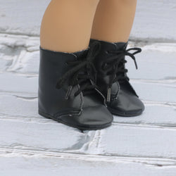 18 Inch Doll Shoes | Black Lace Up Bootie