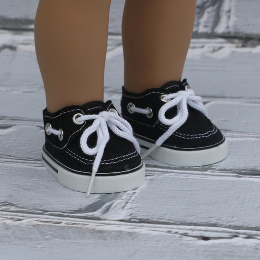 18 Inch Doll Shoes | Black Boat Shoes
