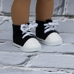 18 Inch Doll Shoes | Black High Top Sneakers
