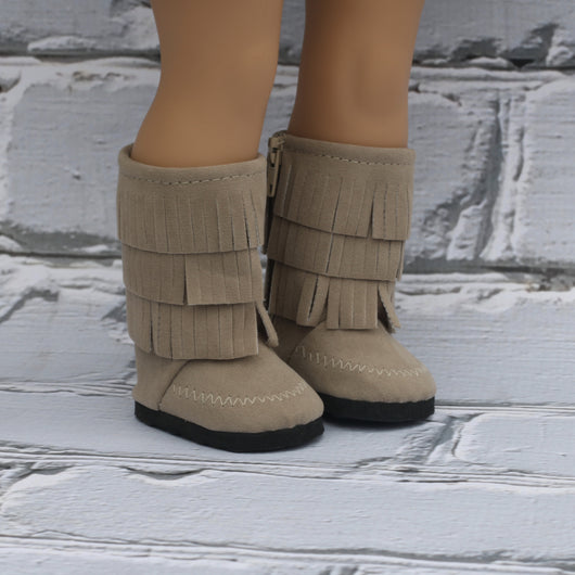 18 Inch Doll Shoes | Tan Fringe Boots