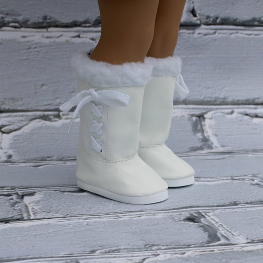 18 Inch Doll Shoes | White Side Lace Up Boots