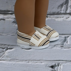18 Inch Doll Shoes | Brown Stripe Canvas Slip On