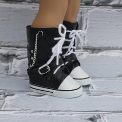 18 Inch Doll Shoes | Black High Top Sneaker Boots
