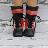 18 Inch Doll Shoes | Tall Red and Black Knee High Boots
