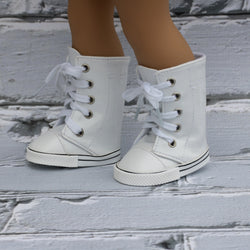 18 Inch Doll Shoes | White High Top Knee High Sneakers