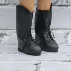 18 Inch Doll Shoes | Black Lace Up Tall Riding Boots