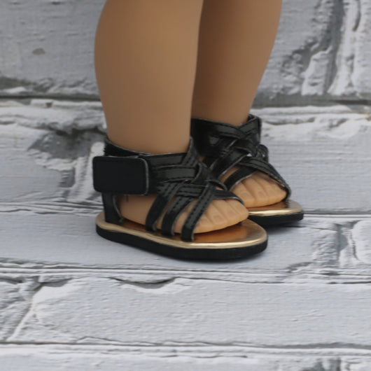 18 Inch Doll Shoes | Black Braided Sandals